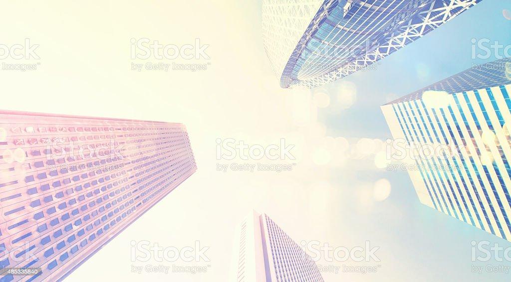 Skyscrapers of Shinjuku, Tokyo, looking up stock photo