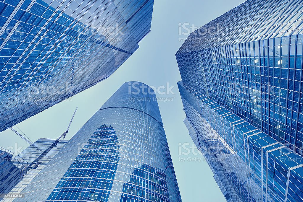Skyscrapers of the business city center. stock photo