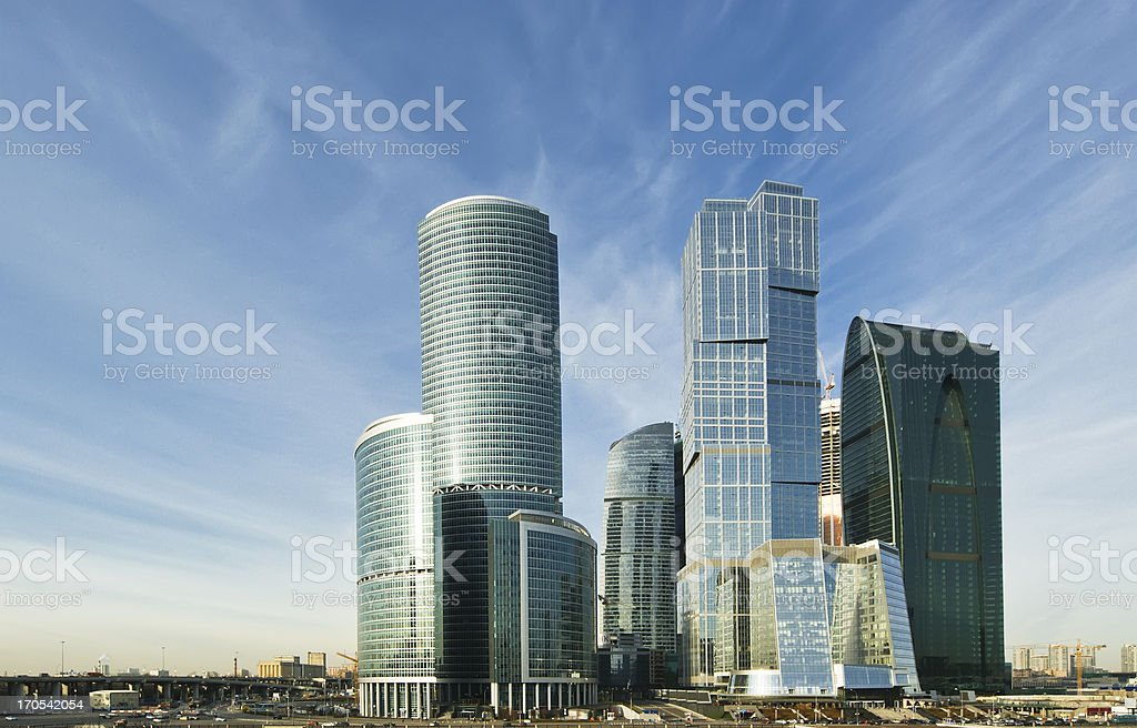 Skyscrapers of the International Business Center (City), Moscow royalty-free stock photo