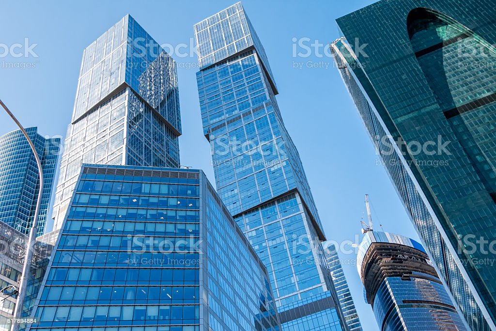 Skyscrapers on construction site stock photo