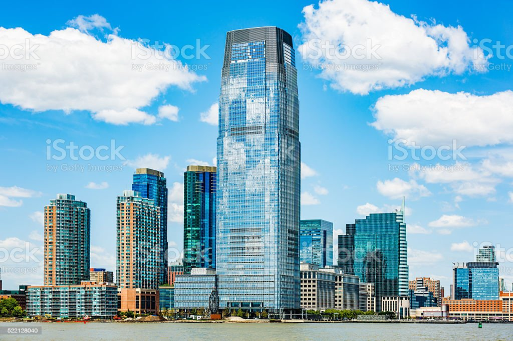 Skyscrapers on Hudson River waterfront, Jersey City, New Jersey, stock photo