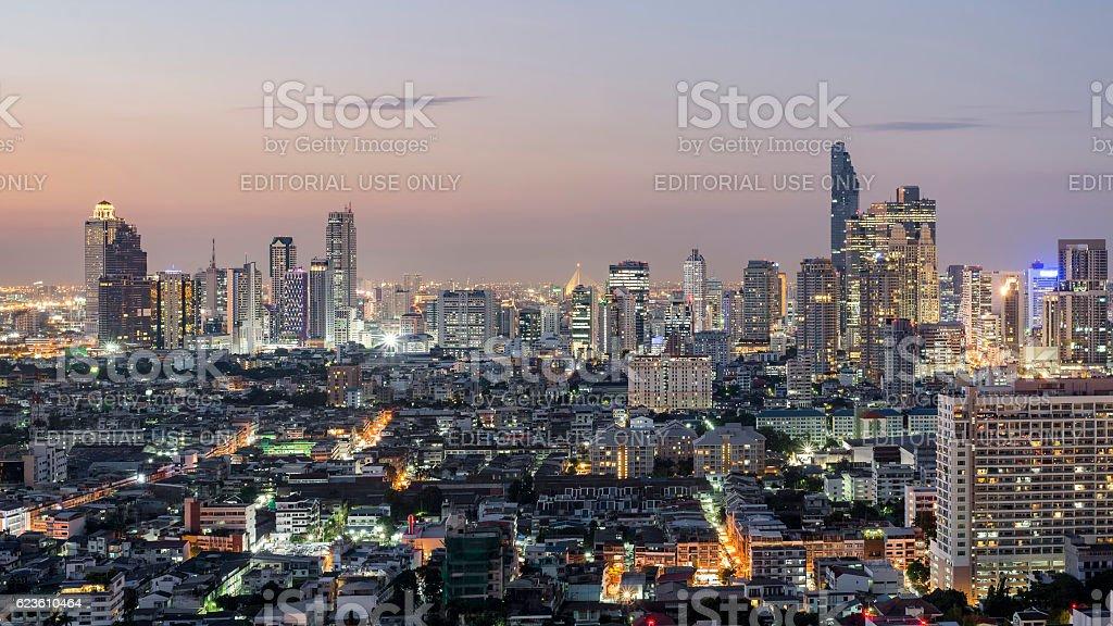 Skyscrapers on Sathorn Road, Bangkok, Thailand stock photo