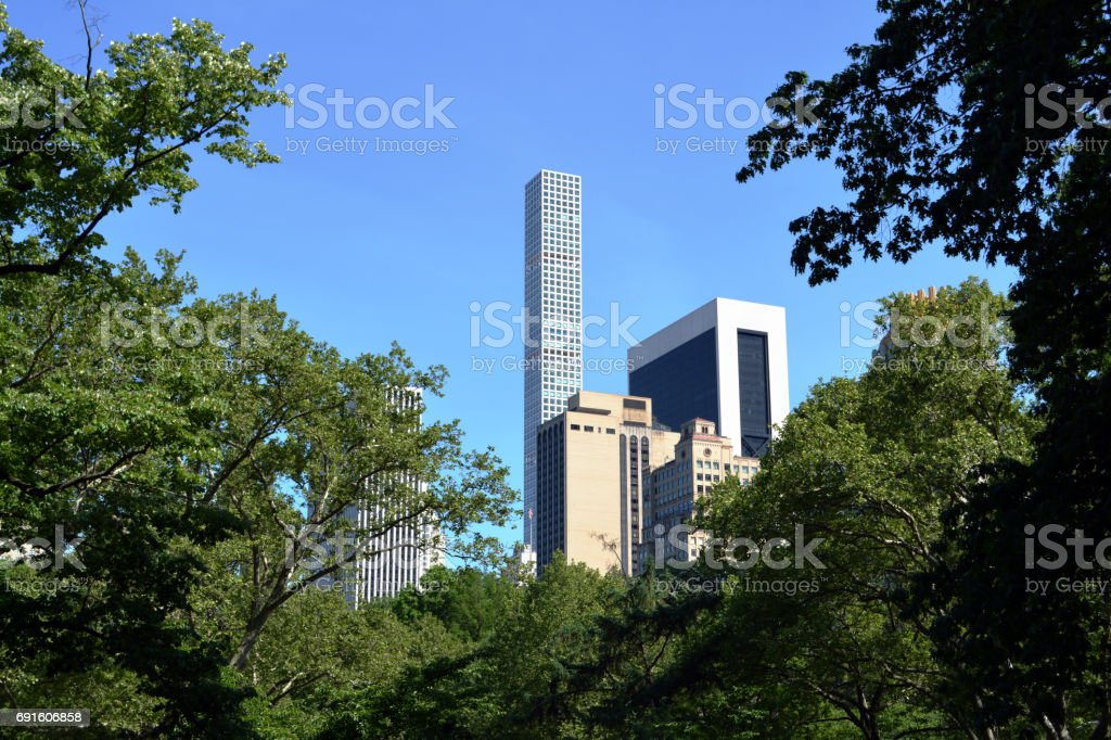 Skyscrapers Rise Above Central Park Trees stock photo