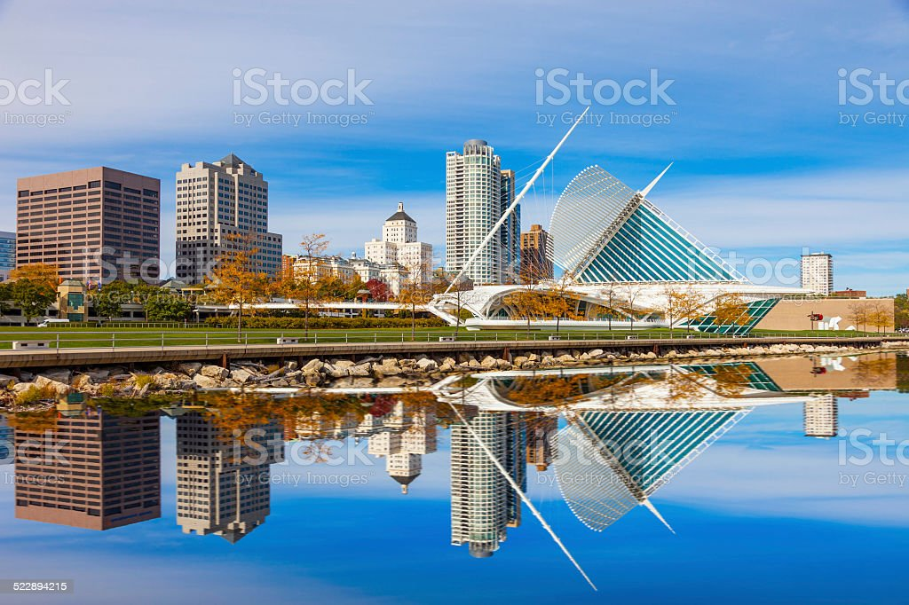 Skyscrapers skyline of Milwaukee and Lake Michigan, WI stock photo