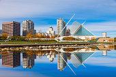 Skyscrapers skyline of Milwaukee and Lake Michigan, WI