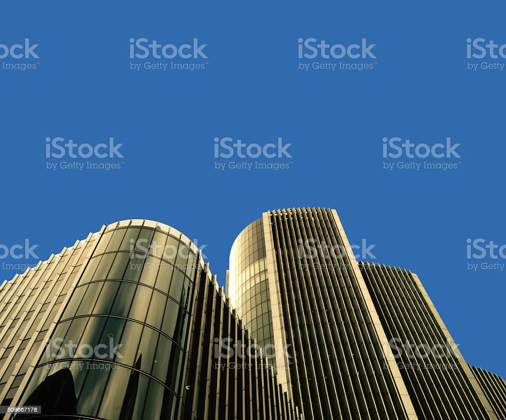 Skyscrapers skyline view isolated over blue background stock photo