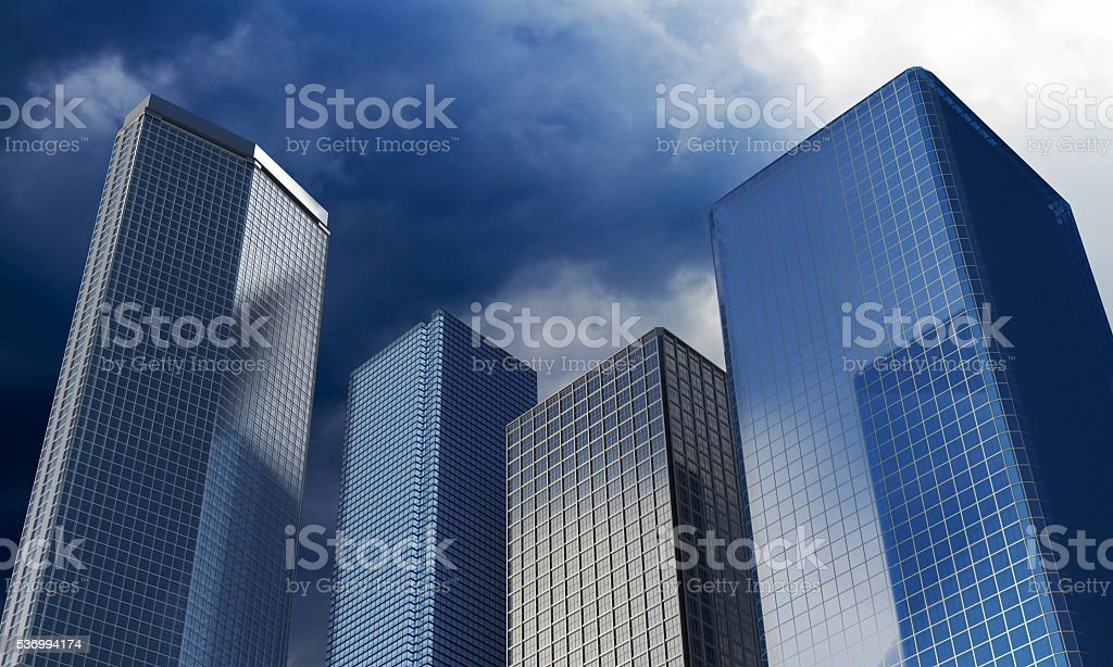 Skyscrapers under the dramatic sky. stock photo