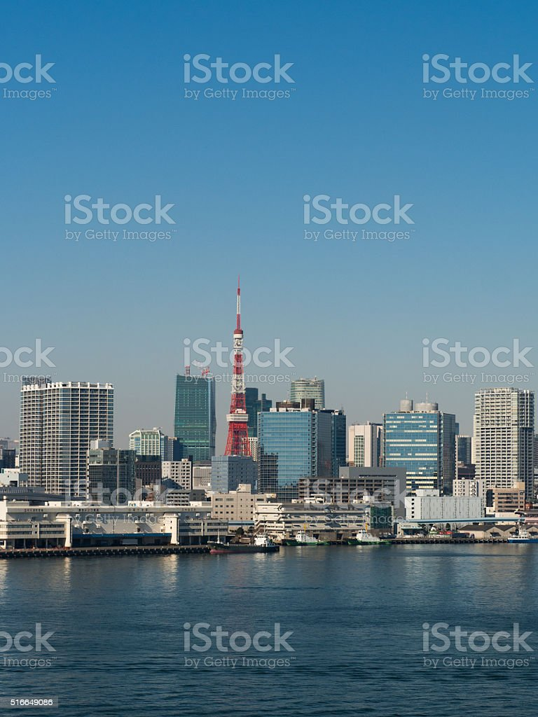 Skyscrapers viewed from the Port of Tokyo stock photo