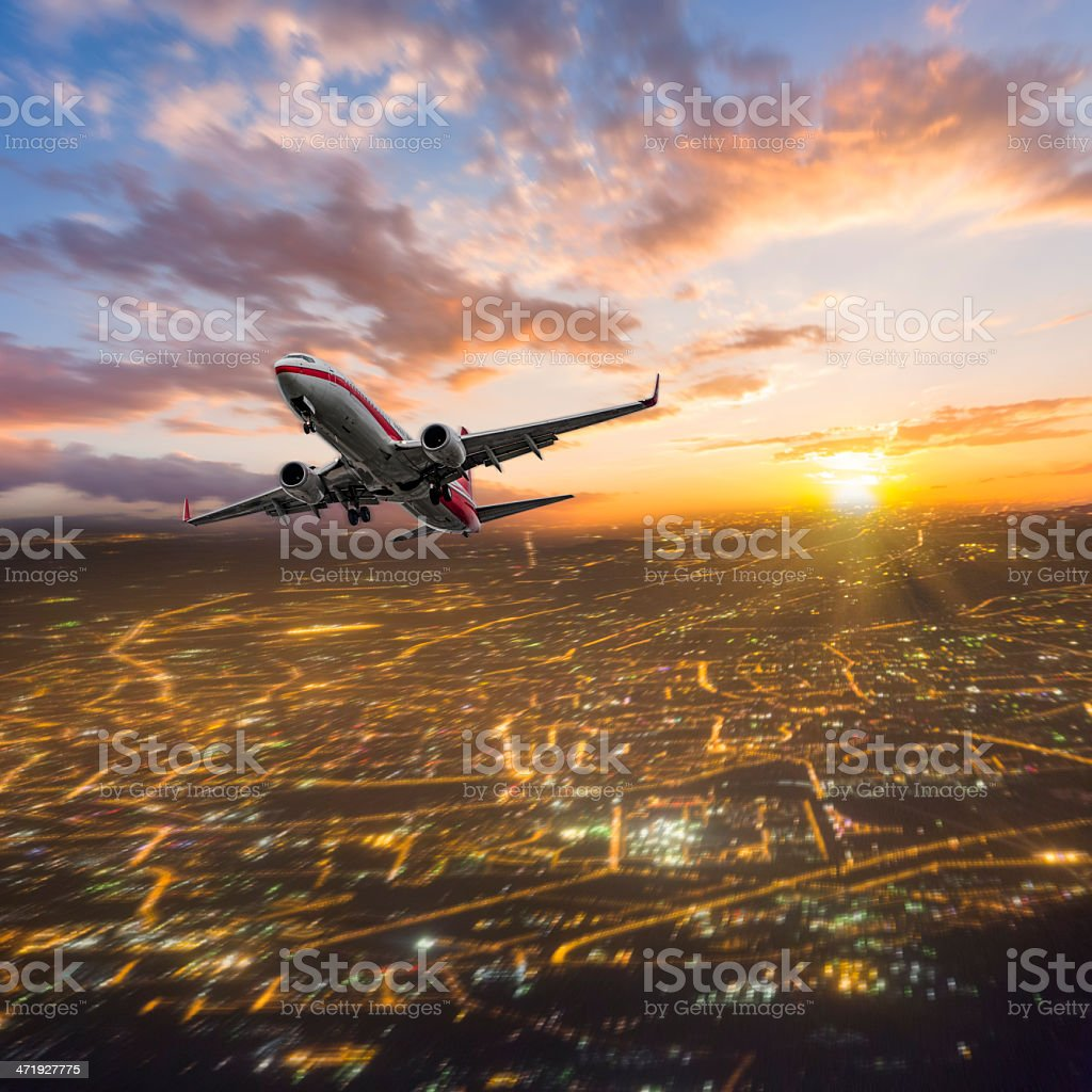 Skyscrapers with airplane stock photo