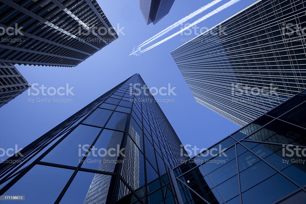 Skyscrapers with Jumbo Jet royalty-free stock photo