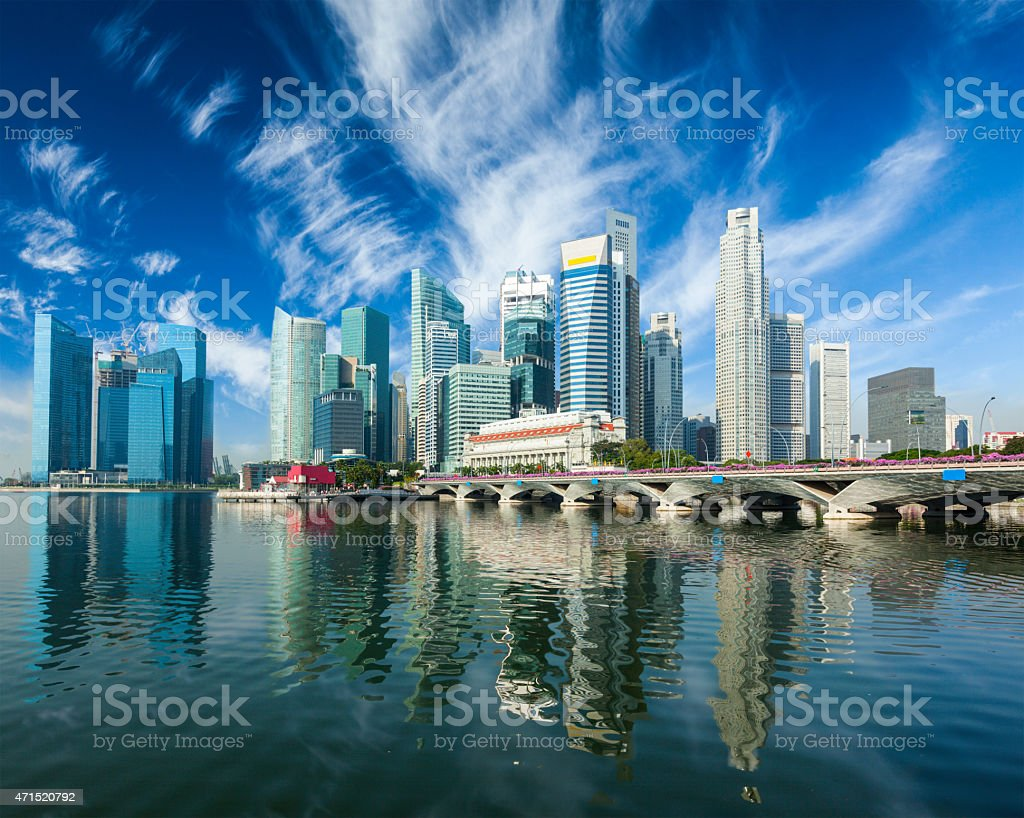 Skyscrapers with water reflection in Singapore stock photo
