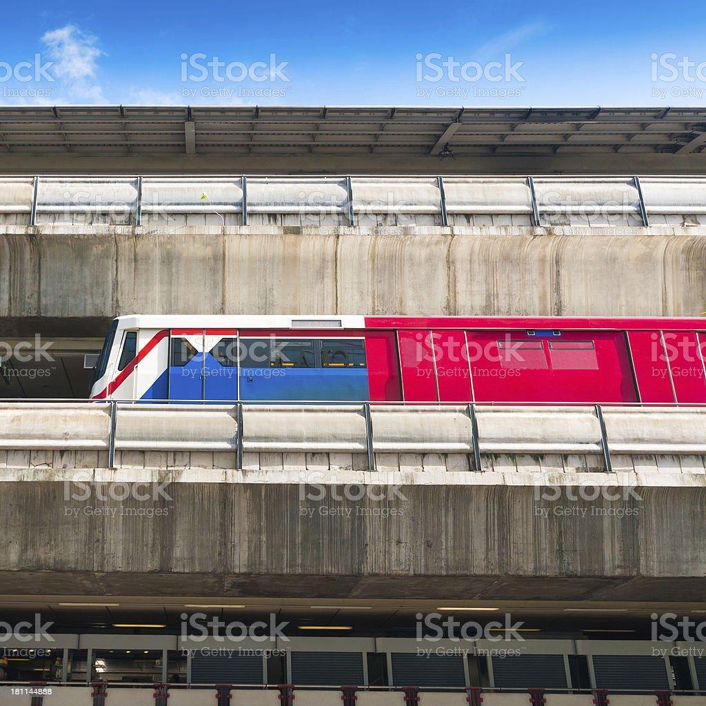 BTS Skytrain at a Station in Bangkok royalty-free stock photo