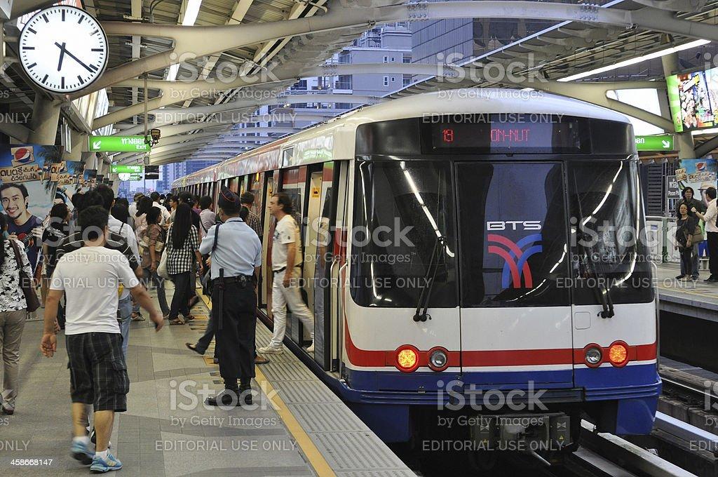 BTS Skytrain at a Station in Bangkok stock photo