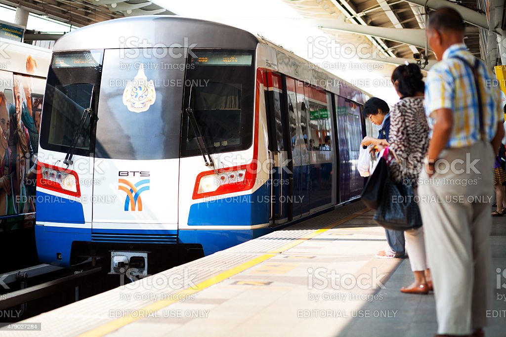 Skytrain in station Victory Monument stock photo