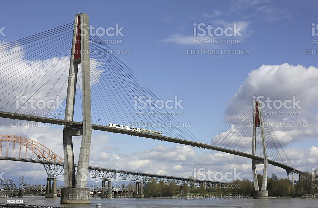 SkyTrain on the SkyBridge over Fraser River, British Columbia, Canada royalty-free stock photo