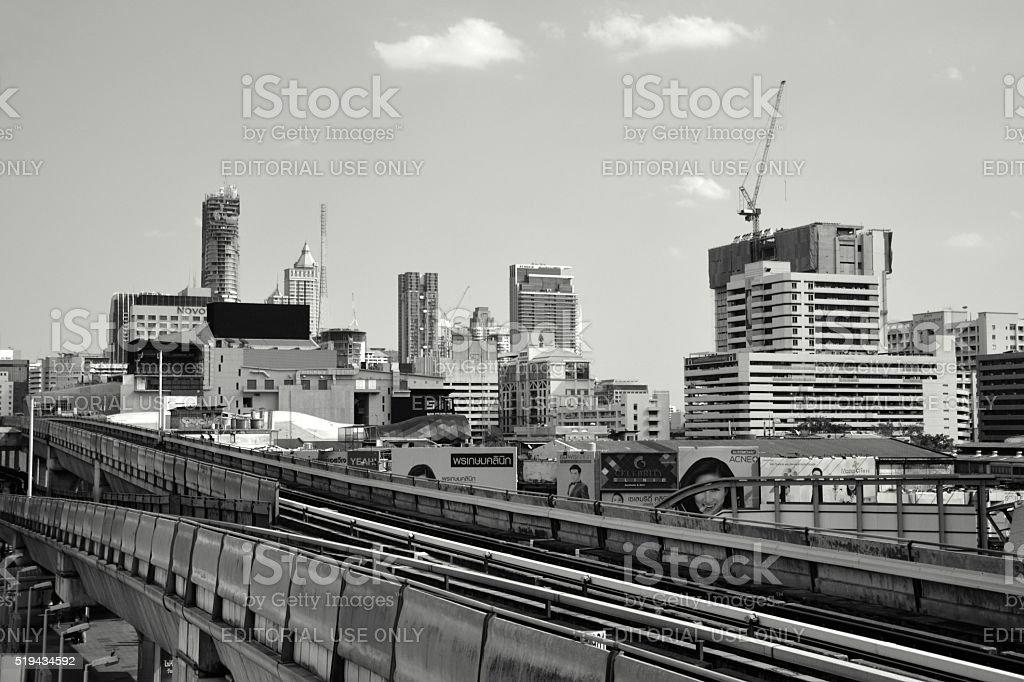 Skytrain tracks at Siam square, Bangkok, Thailand stock photo