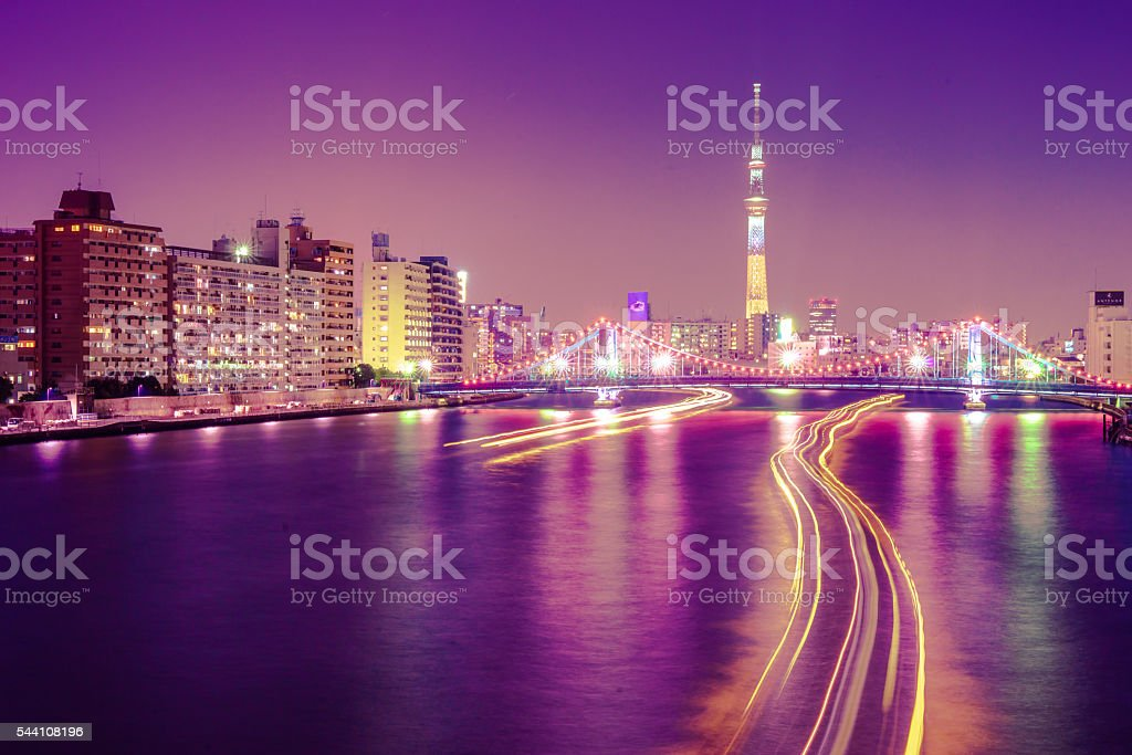 skytree night-view with sumida river stock photo