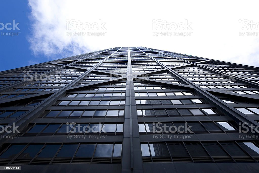 Skyward view of a Chicago skyscraper's exterior wall stock photo
