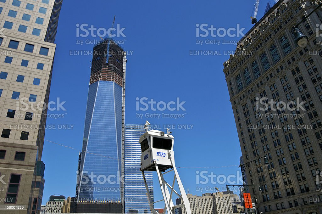 NYPD SkyWatch Mobile Surveillance Tower, Lower Manhattan, NYC royalty-free stock photo