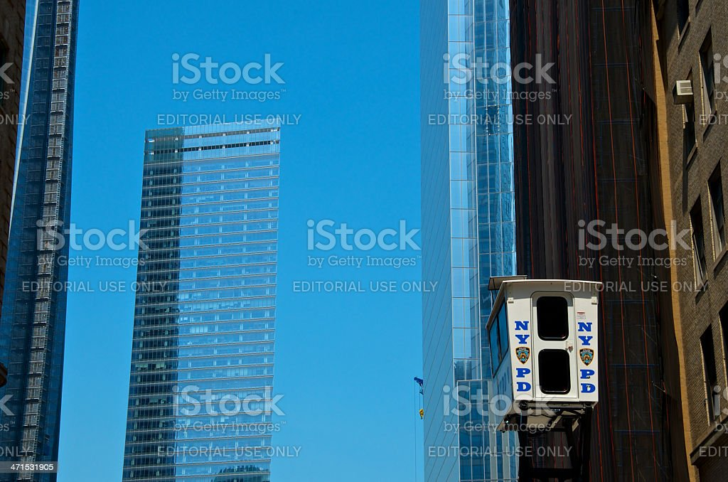 NYPD SkyWatch Mobile Surveillance Tower Near Ground Zero, NYC royalty-free stock photo