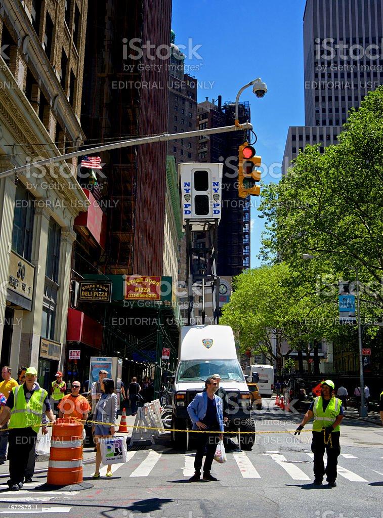 NYPD SkyWatch Mobile Surveillance Tower Near Ground Zero, NYC royalty-free stock photo