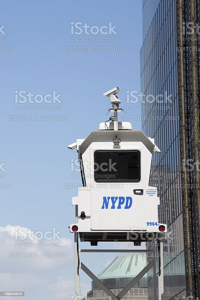 NYPD SkyWatch Tower, Mobile Surveillance, Lower Manhattan, NYC royalty-free stock photo