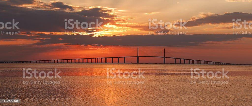 Skyway Bridge at Sunrise, Saint Petersburg, Florida stock photo