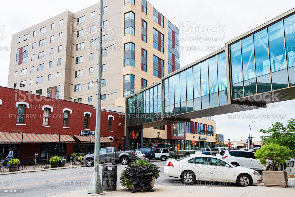Skyway in downtown Rochester, MN stock photo