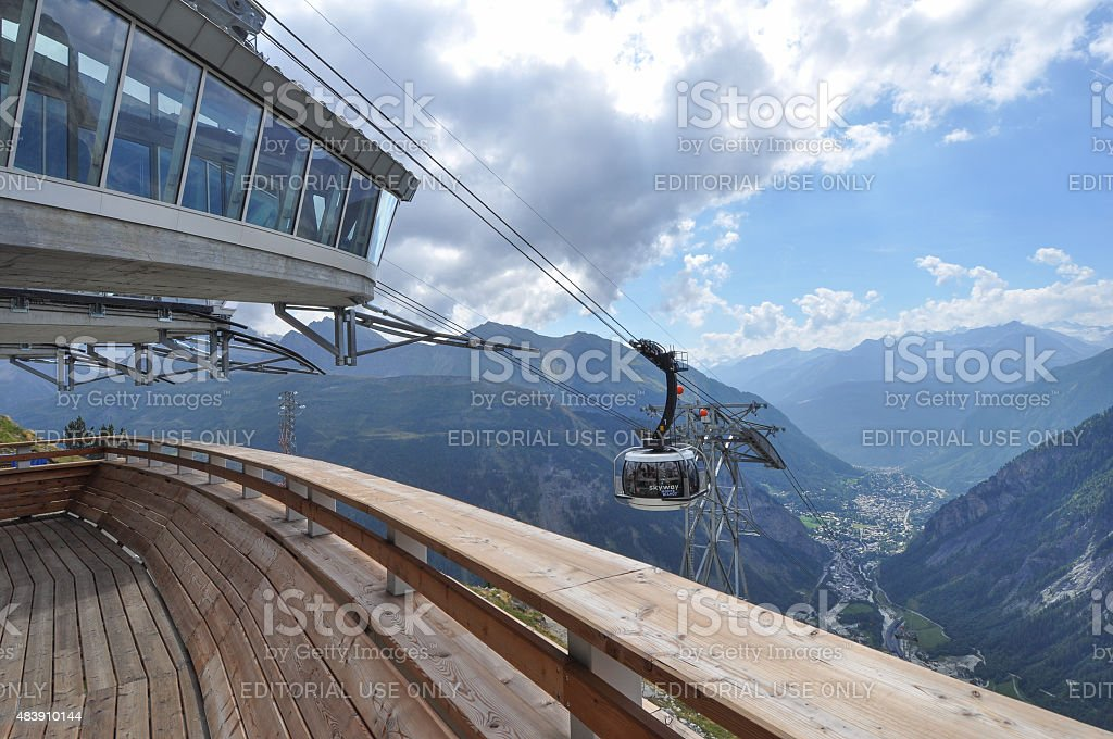 SkyWay Mont Blanc ropeway in Aosta Valley stock photo