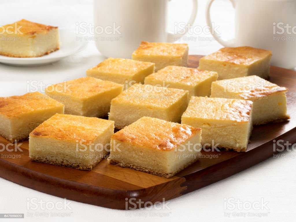 Slab pie with cottage cheese stock photo
