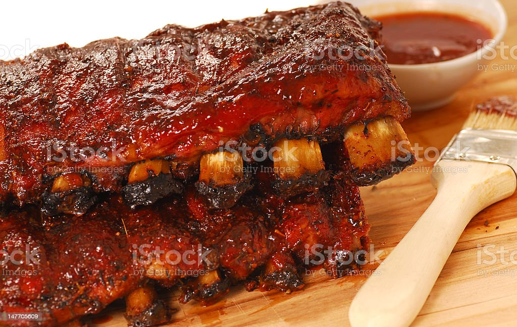 Slabs of BBQ Spare ribs stock photo