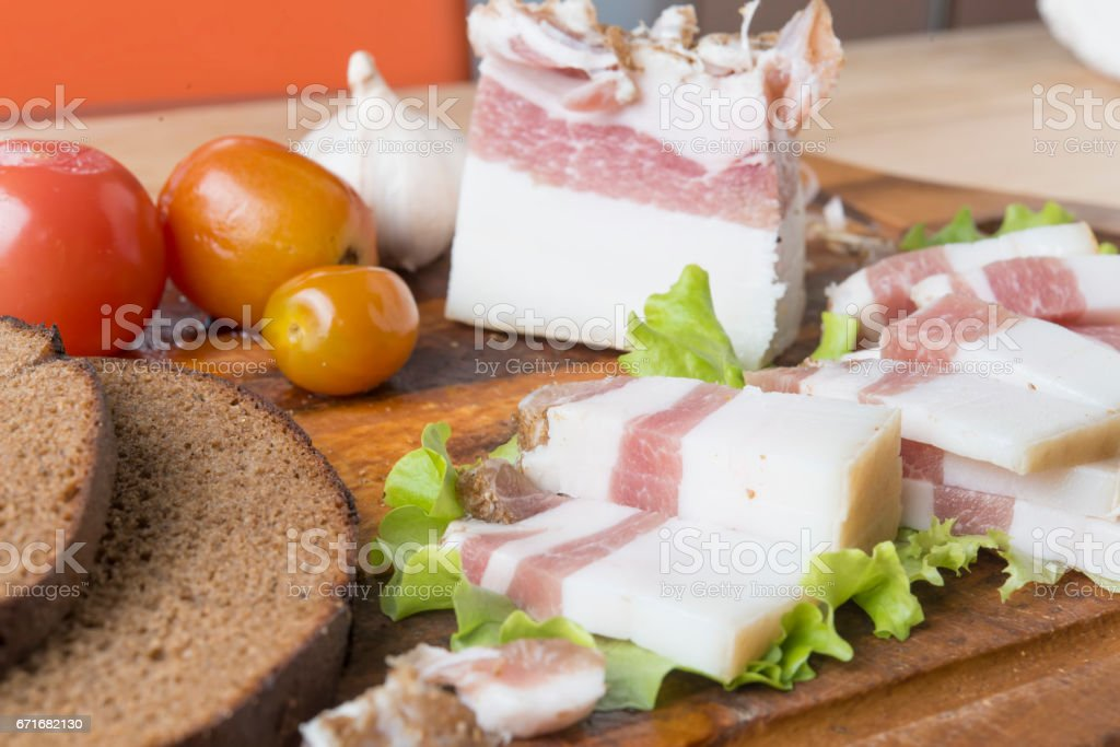 Slabs of salo, or salted pork fatback with spices stock photo