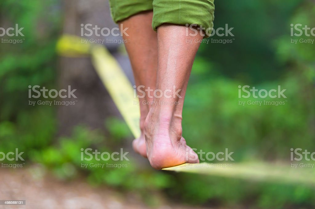 Slack line in the nature. stock photo