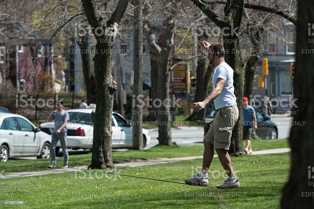Slack Lining in the Park royalty-free stock photo