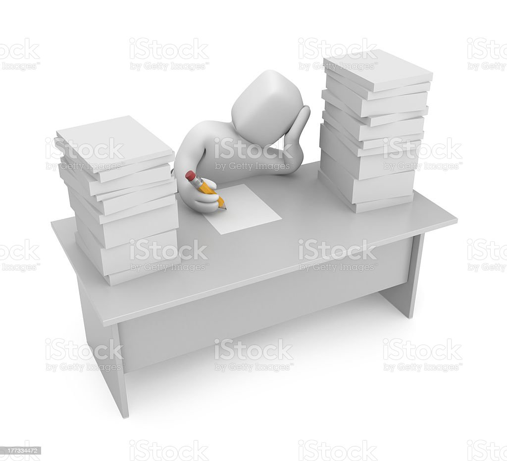 Slack one's work stock photo
