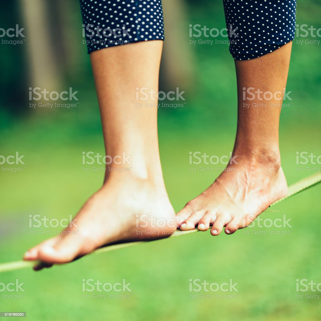Slackine walking stock photo