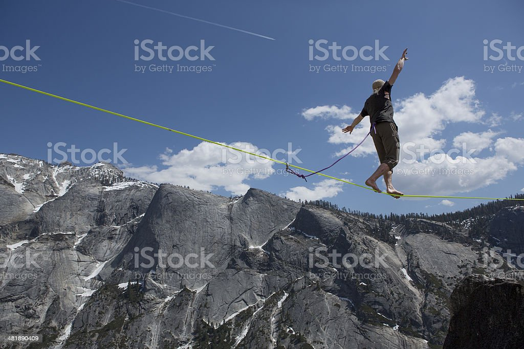 Slackliner Walking Yosemite Highline stock photo