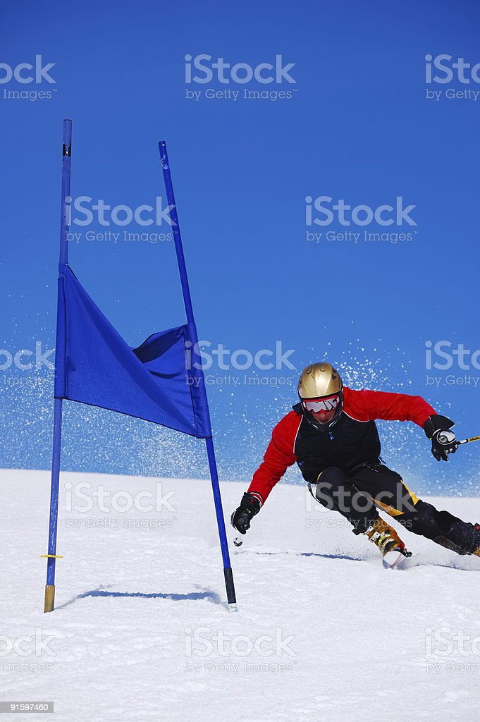 Slalom Ski racer royalty-free stock photo