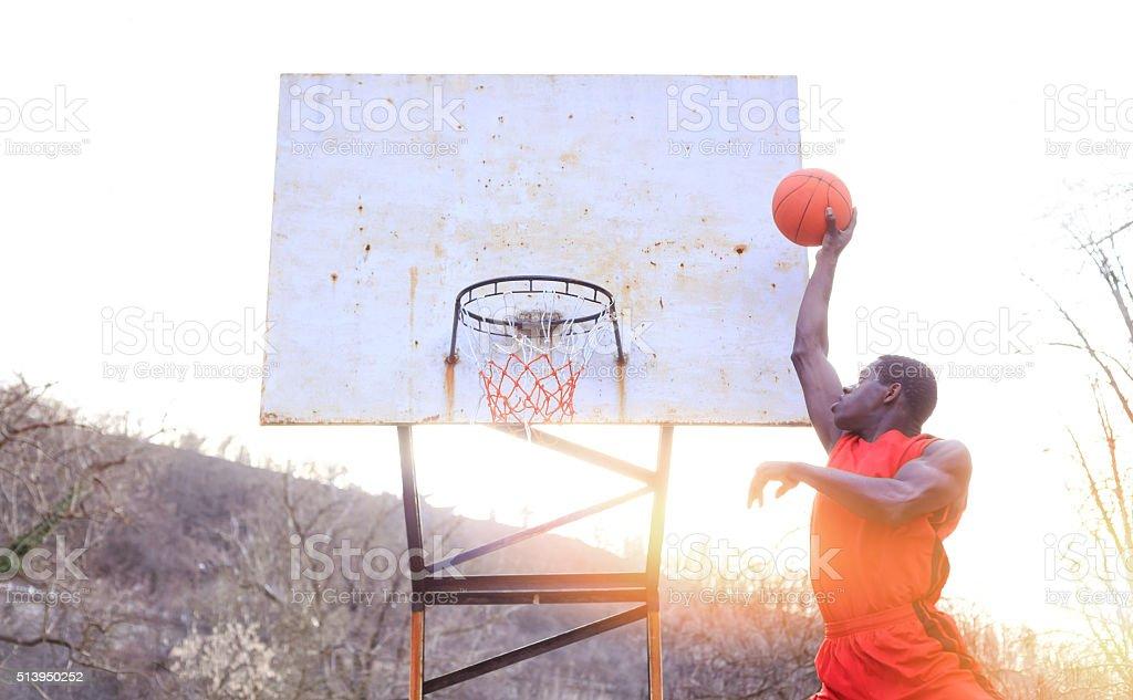 Slam dunk shot stock photo