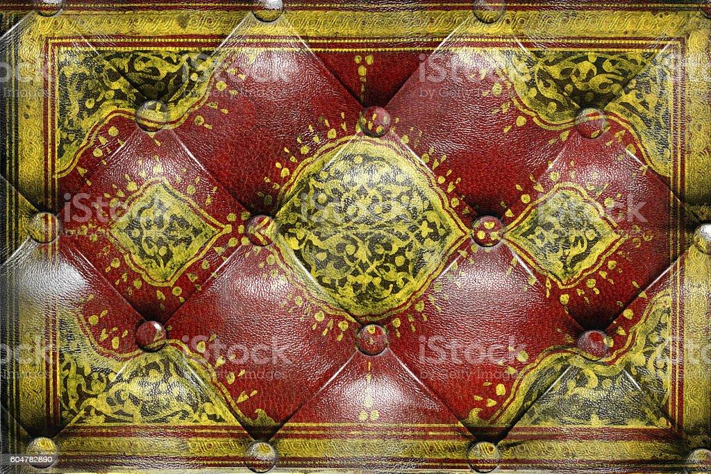 İslamic ornaments on capitone checkered coach leather stock photo