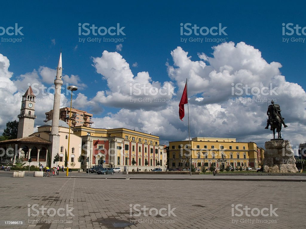 Slander bag square on a cloudy day stock photo