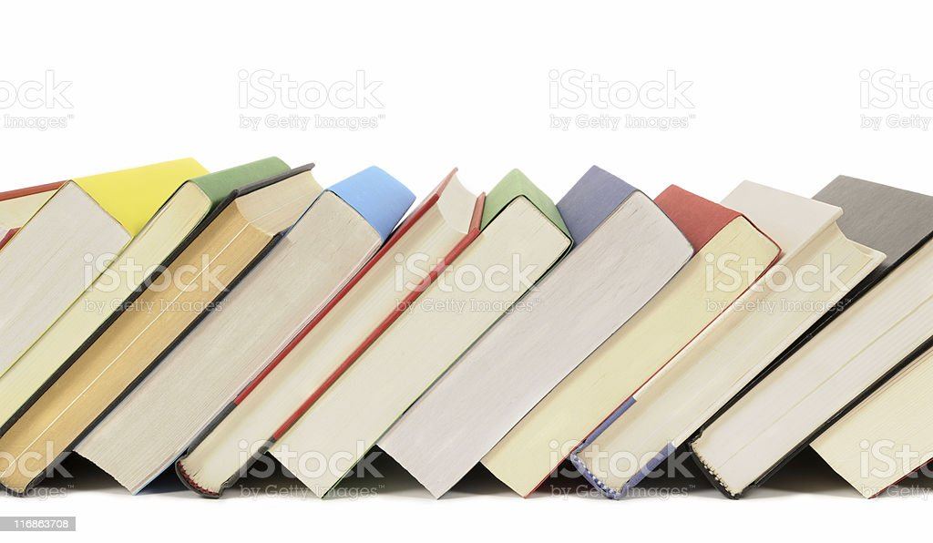 Slanted row of colorful books royalty-free stock photo
