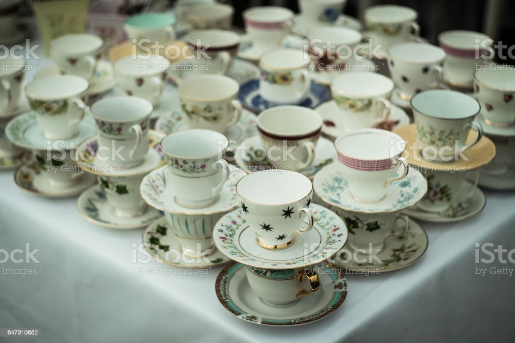 Slanted tea table stock photo