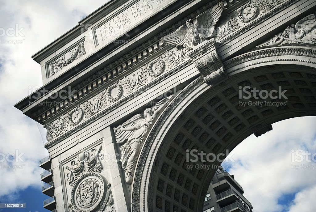 Slanted view and close up of Washington Square Park arch stock photo