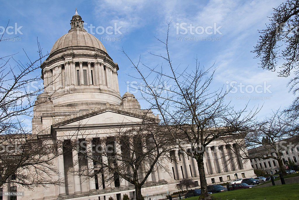 Slanted view of Washington state capitol building stock photo
