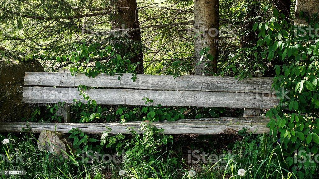 Slanting bench stock photo