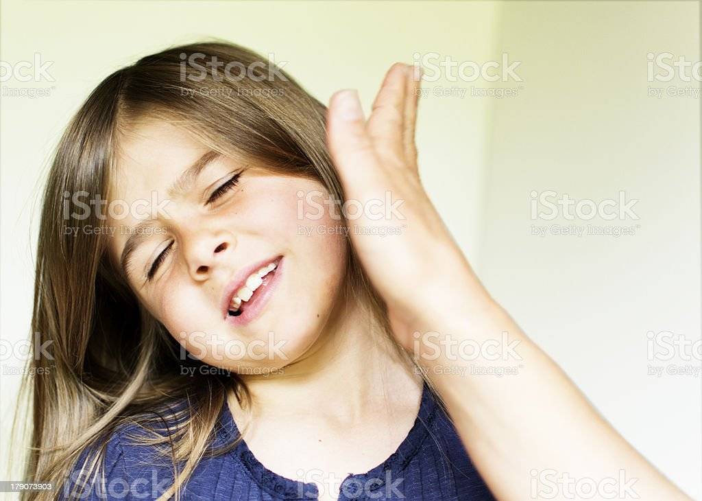 Slapping a child stock photo
