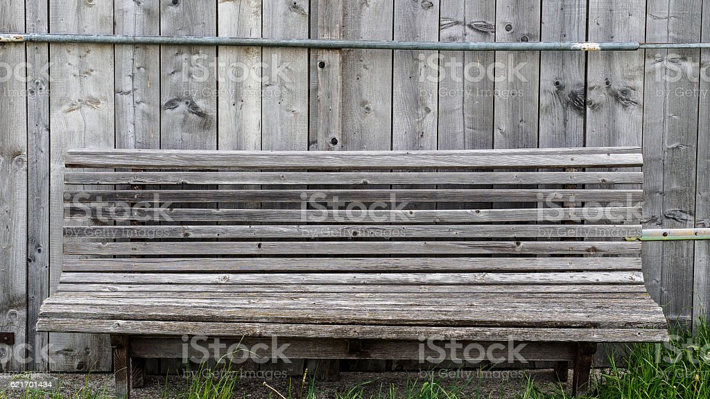 Slat bench stock photo