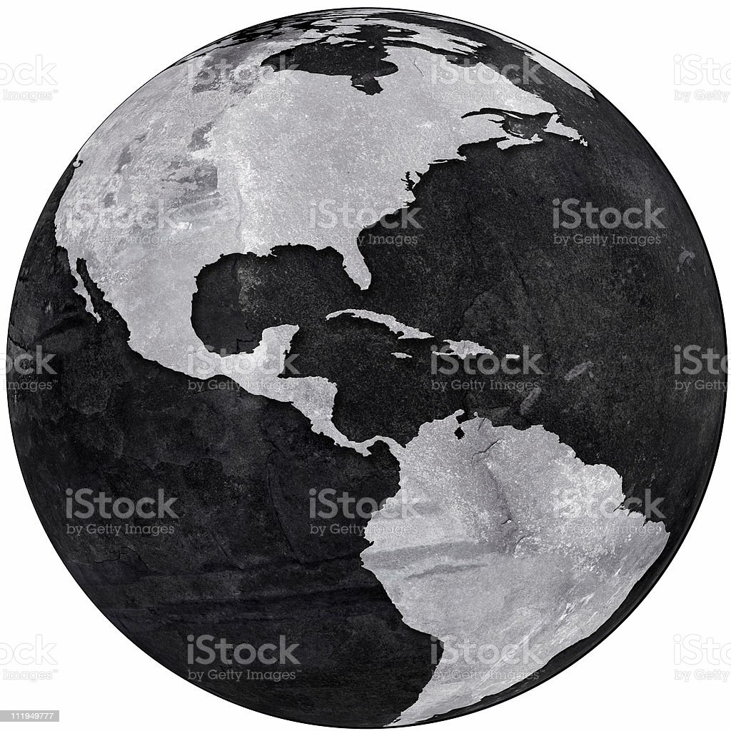 Slate globe showing The Americas royalty-free stock photo
