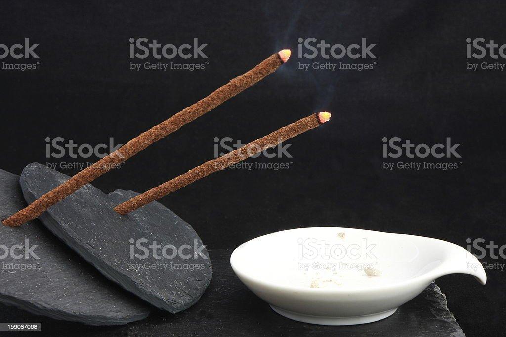 Slate hearts & incense royalty-free stock photo